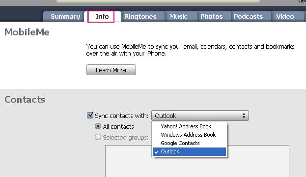how to find contacts in intunes